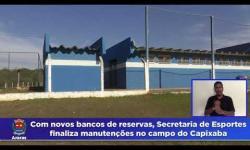 Com novos bancos de reservas, Secretaria de Esportes finaliza manutenções no campo do Capixaba