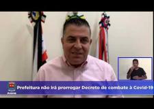 Prefeitura não irá prorrogar Decreto de combate à Covid-19