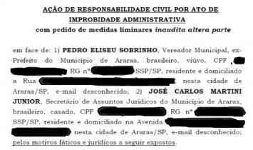 MINISTÉRIO PÚBLICO DE ARARAS RECORRE DE DECISÃO EM AÇÃO DE IMPROBIDADE ADMINISTRATIVA CONTRA EX-PREFEITO INTERINO E EX-SECRETÁRIO DE JUSTIÇA