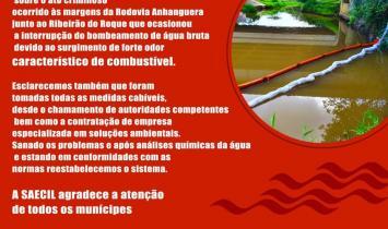 CONTAMINAÇÃO SUSPENDE O FORNECIMENTO DE ÁGUA EM LEME (SP)