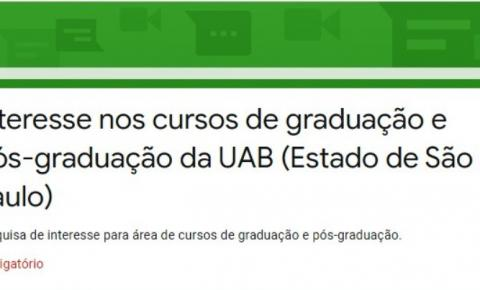 UAB de Araras realiza pesquisa de demanda de cursos de Graduação e Pós-graduação