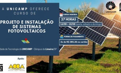 INSCRIÇÕES PARA O CURSO DE PROJETO E IMPLANTAÇÃO DE ENERGIA SOLAR DA UNICAMP SEGUEM ATÉ O DIA 11 DE AGOSTO