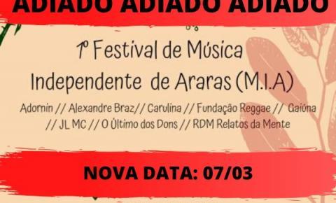 FESTIVAL DE MÚSICA INDEPENDENTE É ADIADO